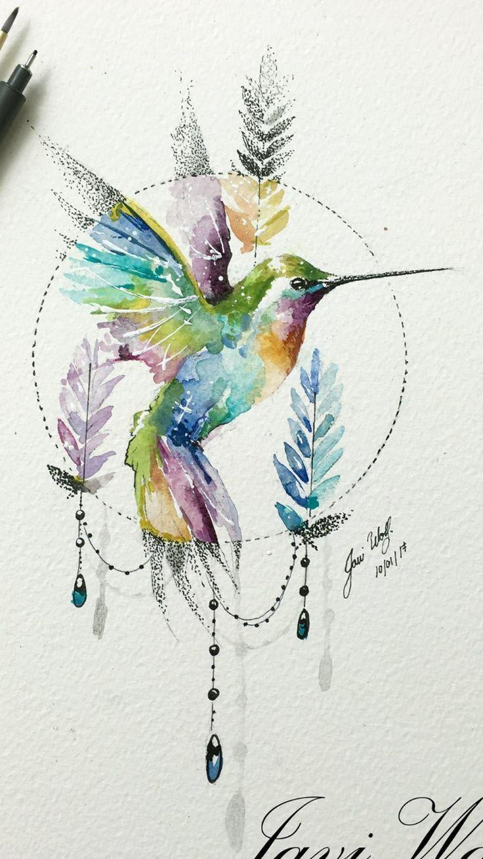 Watercolor Tattoos 90072 Hummingbird Tattoo Hummingbird Tattoo In 2020 Bird Watercolor Paintings Watercolor Hummingbird Watercolor Bird