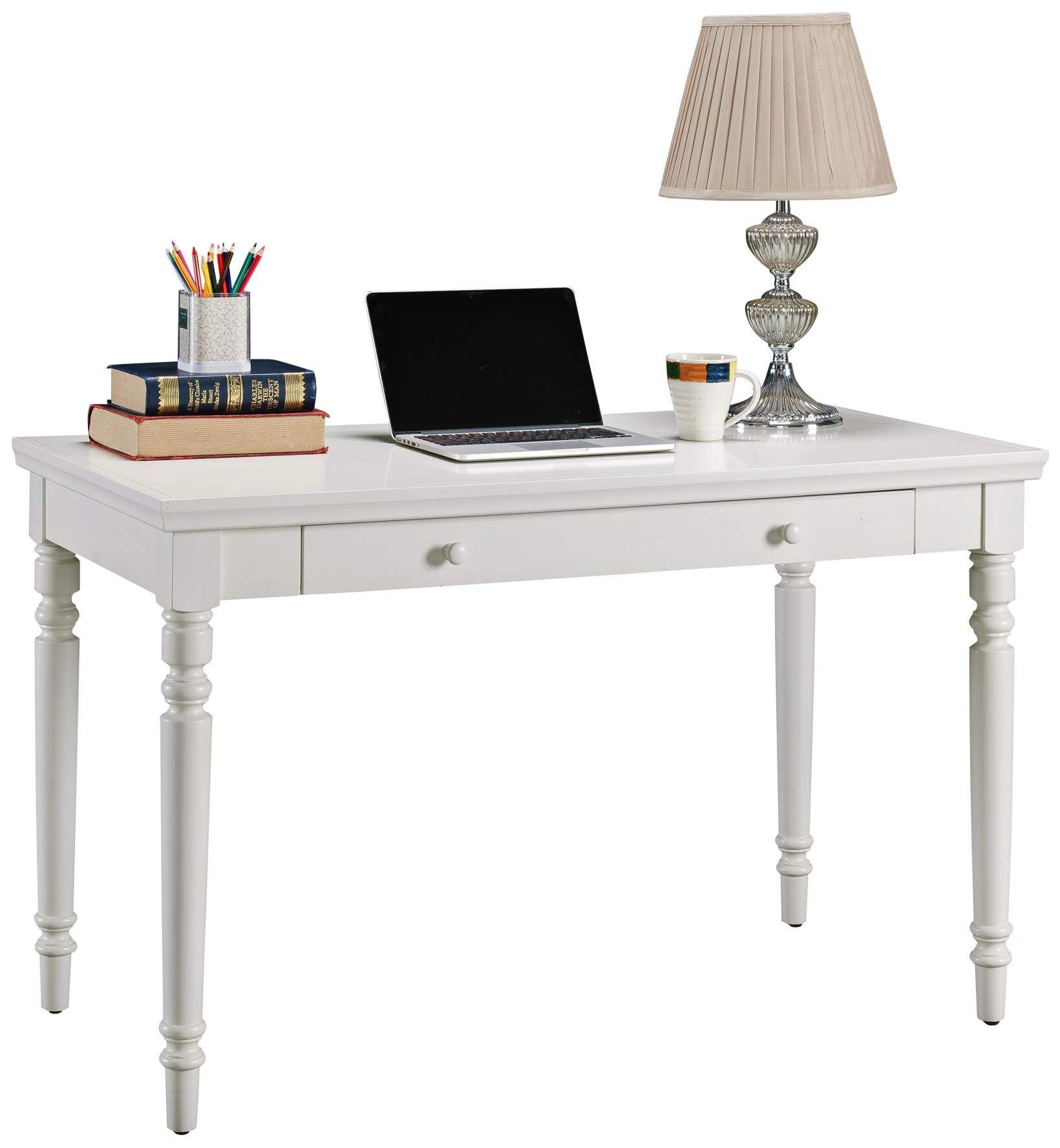 Leick 48 Inch Wide Farmhouse White 1 Drawer Wood Laptop Desk