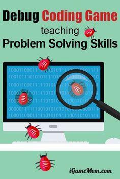 Printable Computer coding game teaching kids debug, finding