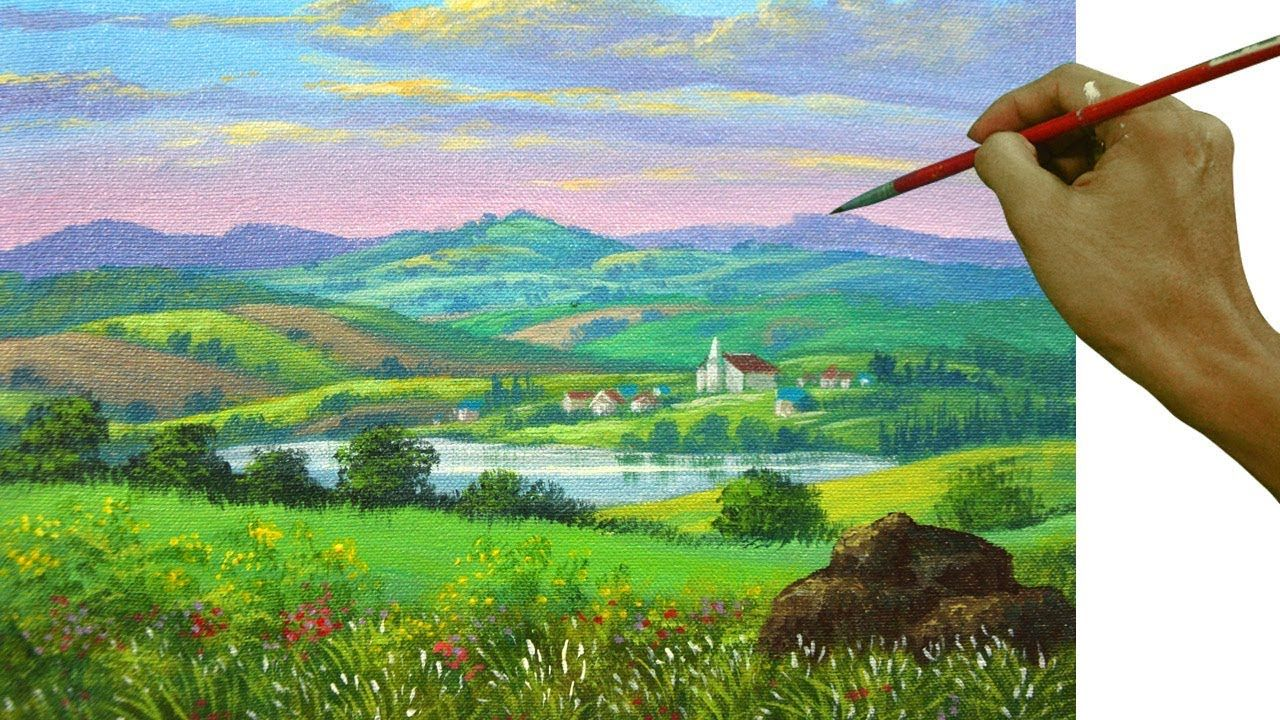 Acrylic Landscape Painting Tutorial Distant Village With Church Houses Lake Mountains An Painting Art Lesson Landscape Painting Tutorial Landscape Paintings