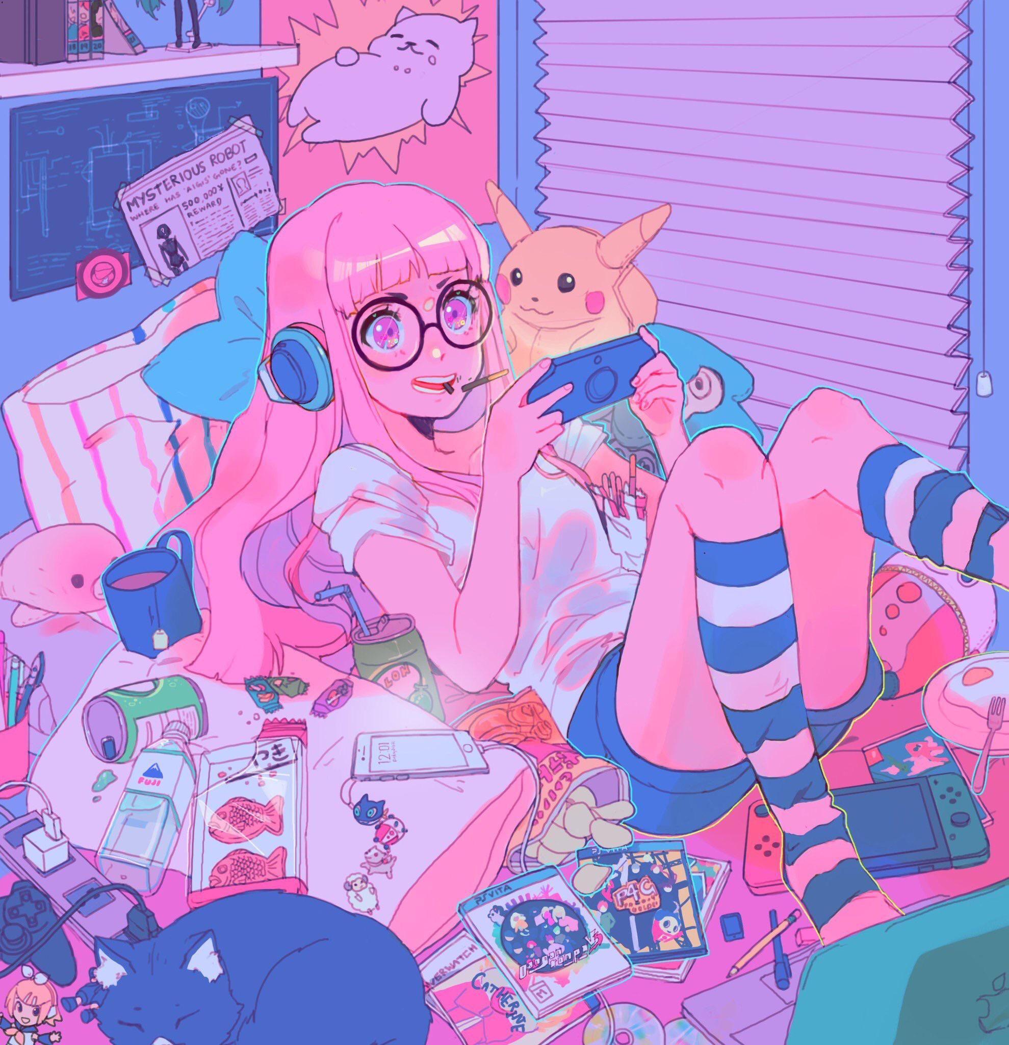 Gamer Girl [hiyo] Persona5 Cute art styles, Aesthetic