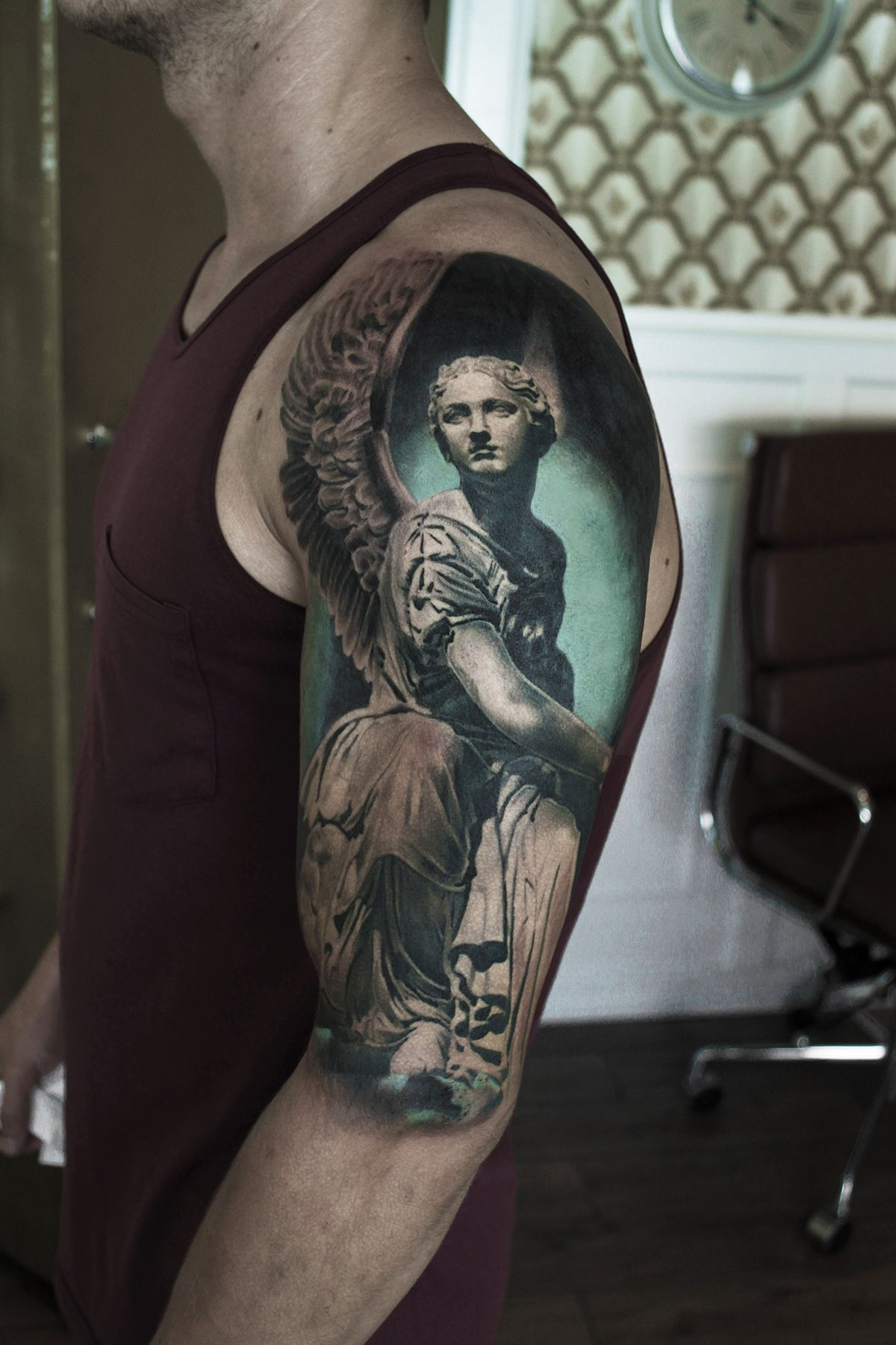 Tattoo Statue Black And Grey Realism Realistic Black Tattoos Tattoos Tattoo Artists