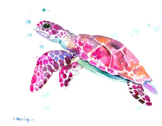 Sea Turtle, Original watercolor painting, 14 x 11 in, purple pink ...