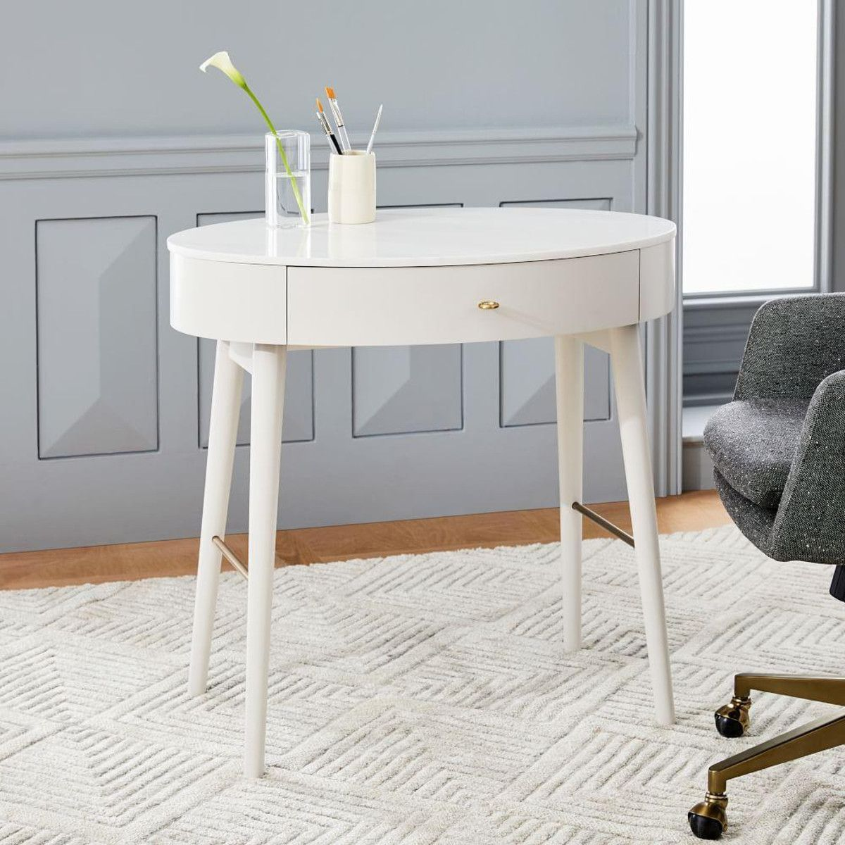 Penelope Mini Desk Oyster W Marble Top West Elm Canada Mid Century Mini Desk Mini Desk Bedroom Makeover Before And After