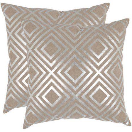 Safavieh Chloe Pillow Set Of 2 Silver Decorative Throw Pillows