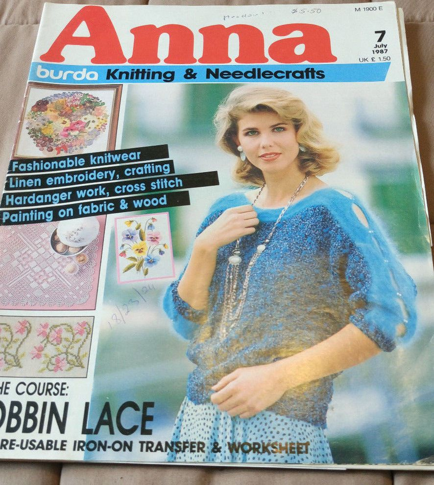 Anna Burda Needlework /& Crafts magazine July 1984 knitting embroidery crochet