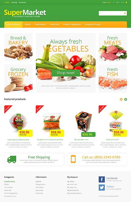 Grocery ecommerce template - spinneys style colours Grocery - grocery templates free