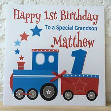 Handmade personalised train birthday card first 1st 2nd 3rd grandson handmade personalised train birthday card first 1st 2nd 3rd grandson son nephew bookmarktalkfo Images