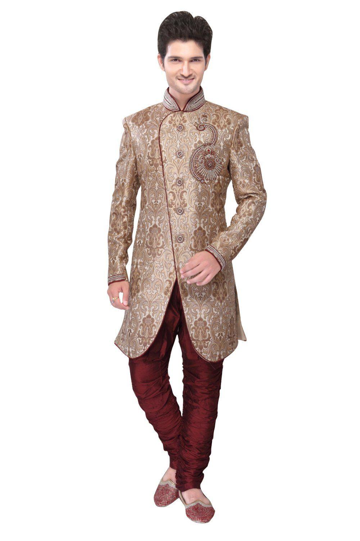 Brown brocade silk indian wedding indowestern sherwani for men