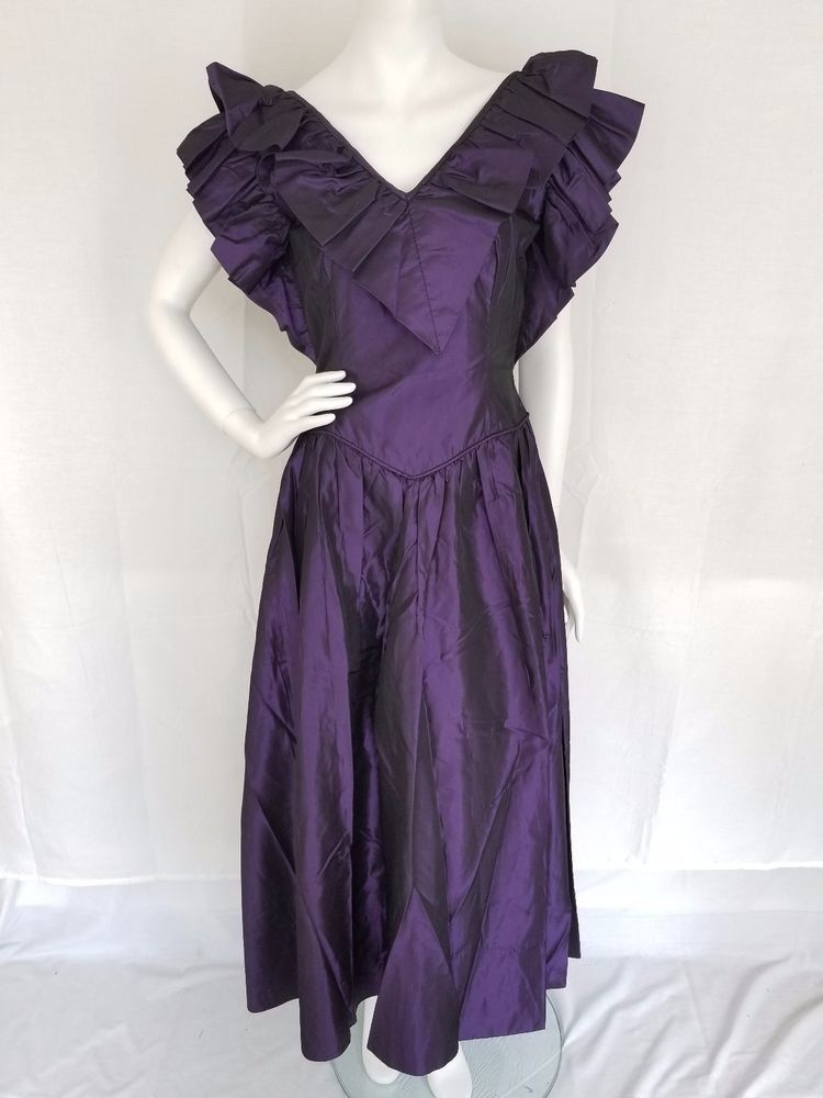 Vtg 80s Gowns By Andrea California Shiny Purple Taffeta Prom Formal