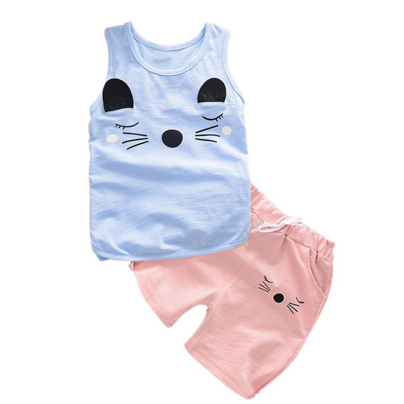 e74547f70c40 Lovely Toddler Print Baby Girls Boys Sleeveless O-Neck Tops+Solid Cotton  Summer Pants Outfits Set