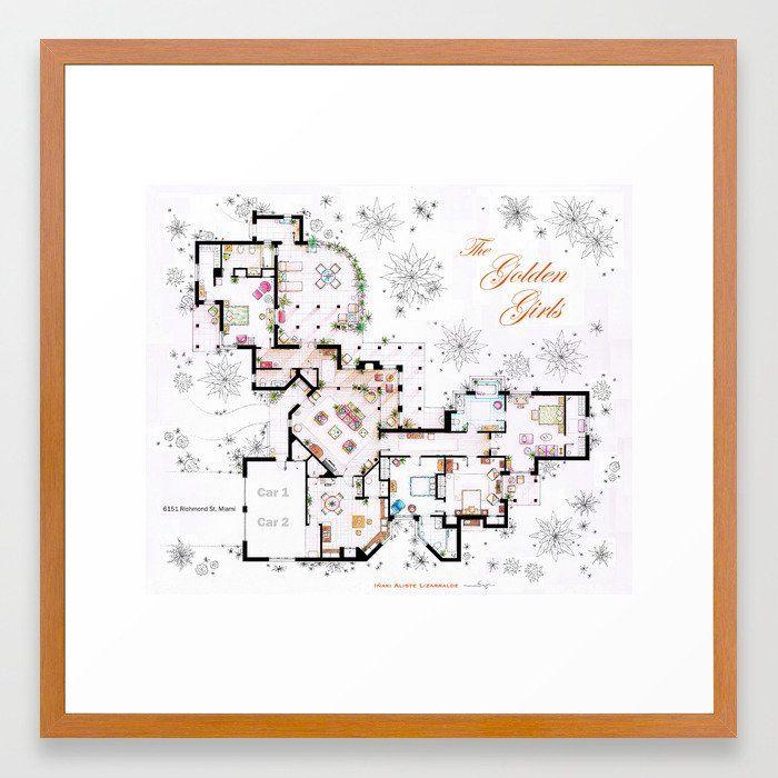 The Golden Girls House floorplan v 2 Framed Art Print
