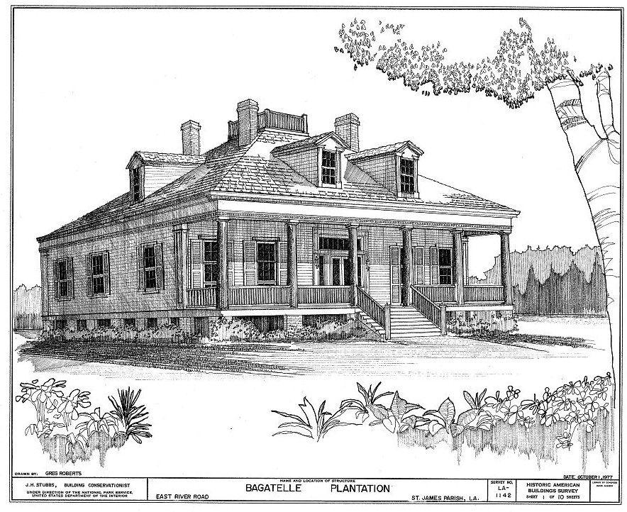 Floor Plans and Elevations Bagatelle Plantation House Donaldsonville Louisiana
