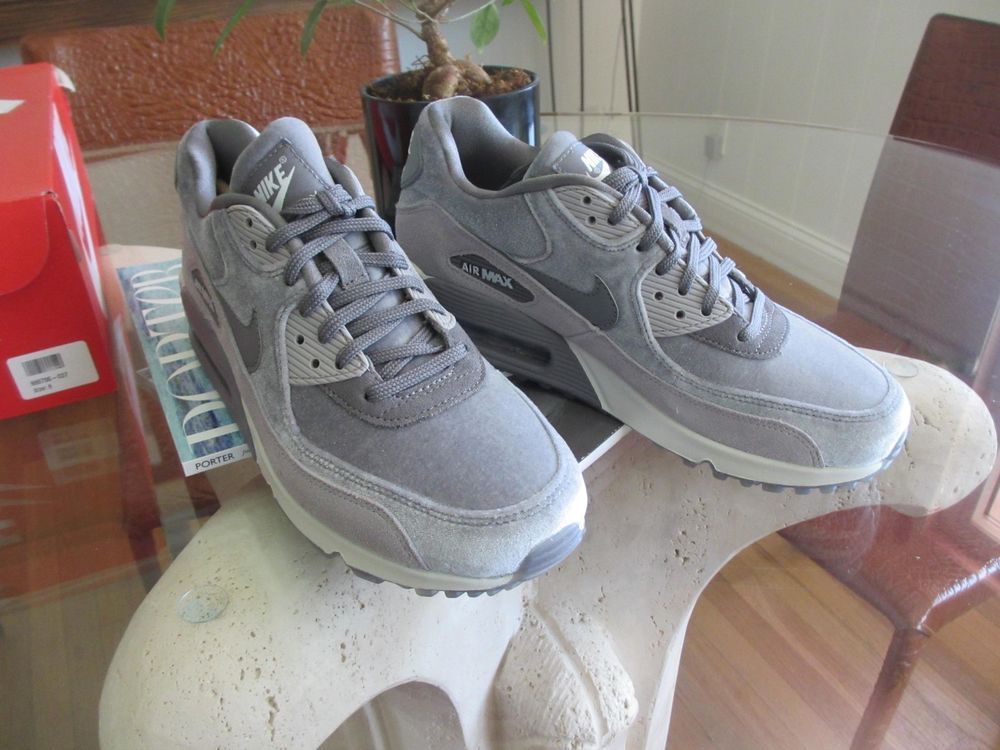 meet 20a5b 2dbde Nike Air Max 90 Suede-trimmed Velvet Sneakers Gray Size 8   eBay