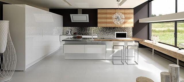 Cuisine moderne en L avec îlot par Aster Cuisine laquée blanc