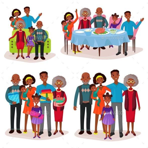 Family Set At Holidays Or Festive Gathering In 2020 Family Set Family Illustration Black Cartoon