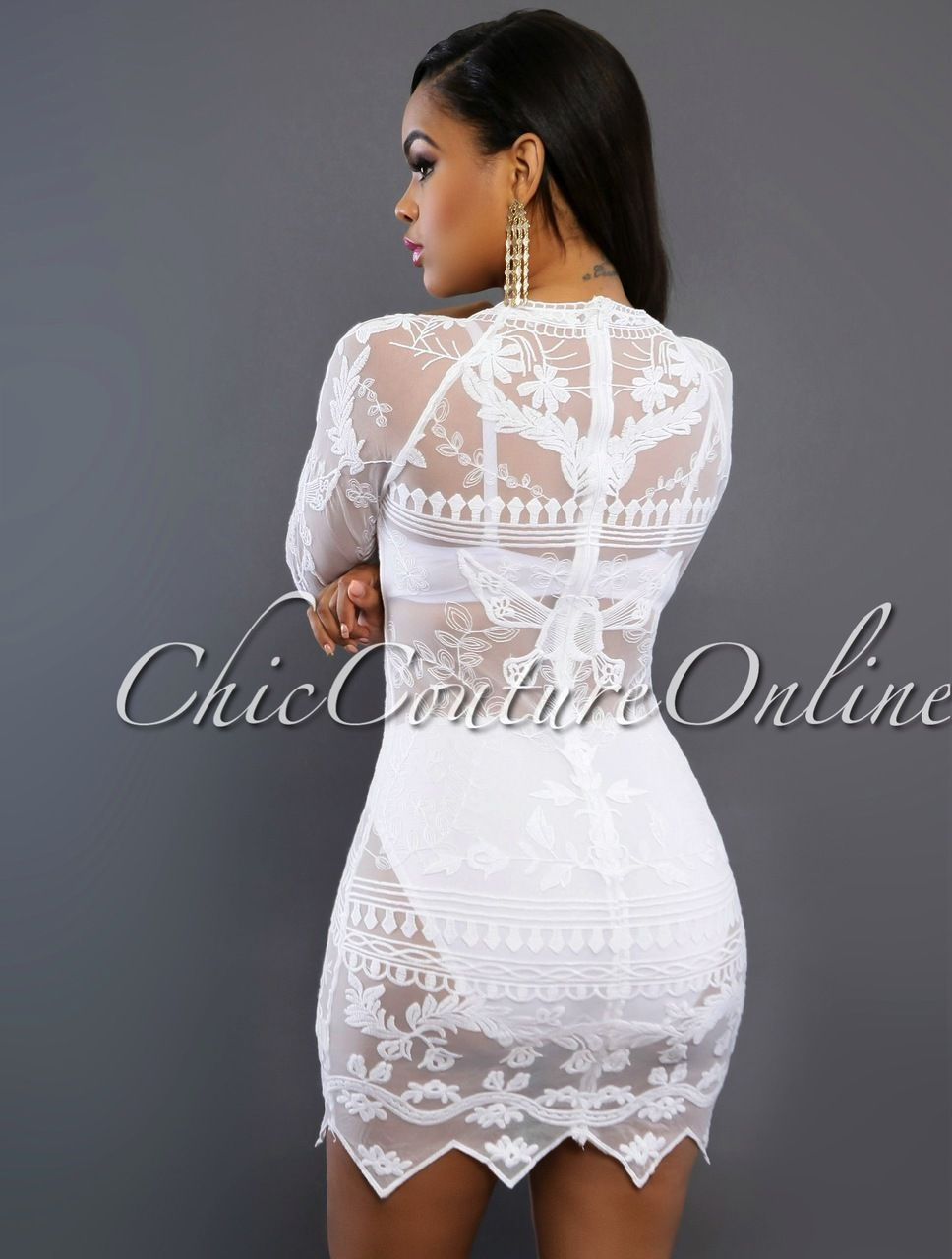 Chic Couture Online - Falone White Sheer Lace Cover-up Dress,(http ...