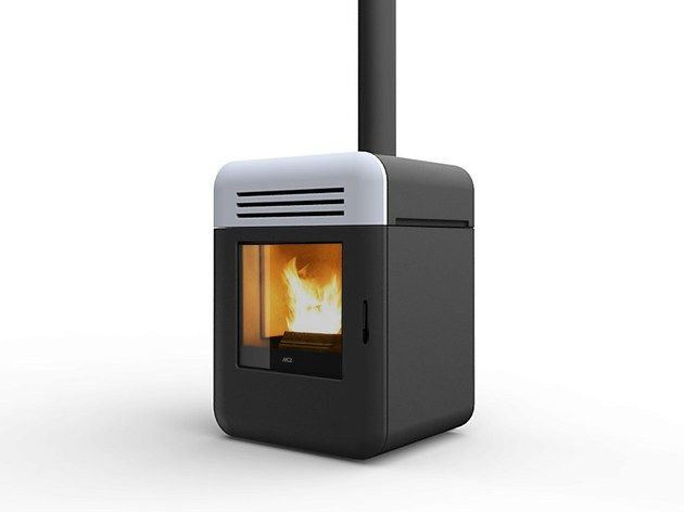 Compact Pellet Stove With A Minimal Design By Mcz With Images Pellet Stove Wood Pellet Stoves Stove