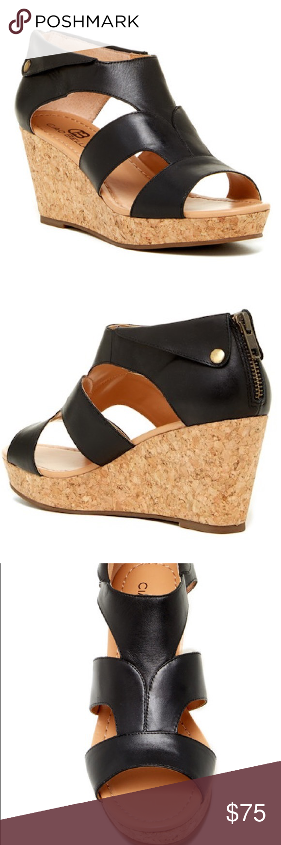6c17f1a5a Ciao Bella Lucy Cork Wedge Sandal NIB - Open toe - Caged vamp - Back zip  closure - Cork wedge heel and platform - Approx. 3.25