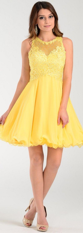 Poly USA Short A Line Chiffon Prom Dress Yellow Sheer Neck