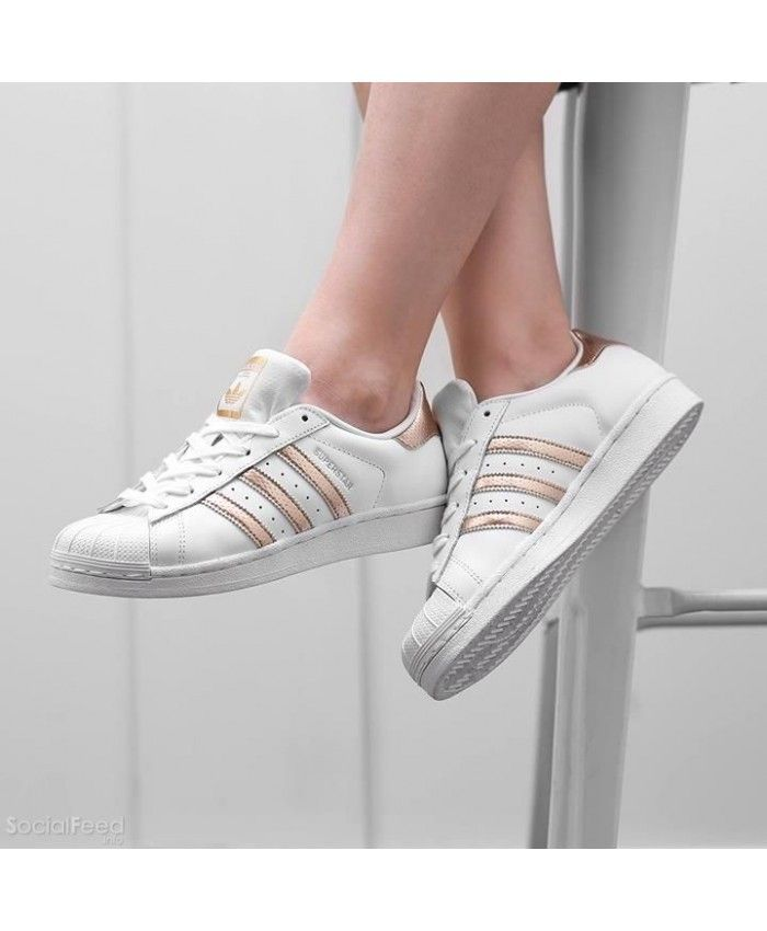 ed347db3d3fb6e Adidas Superstar Rose Gold White Trainers Sale UK