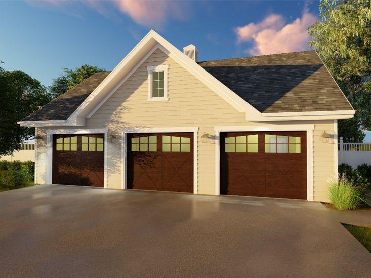 050g 0074 Three Car Garage Plan With Traditional Styling Garage