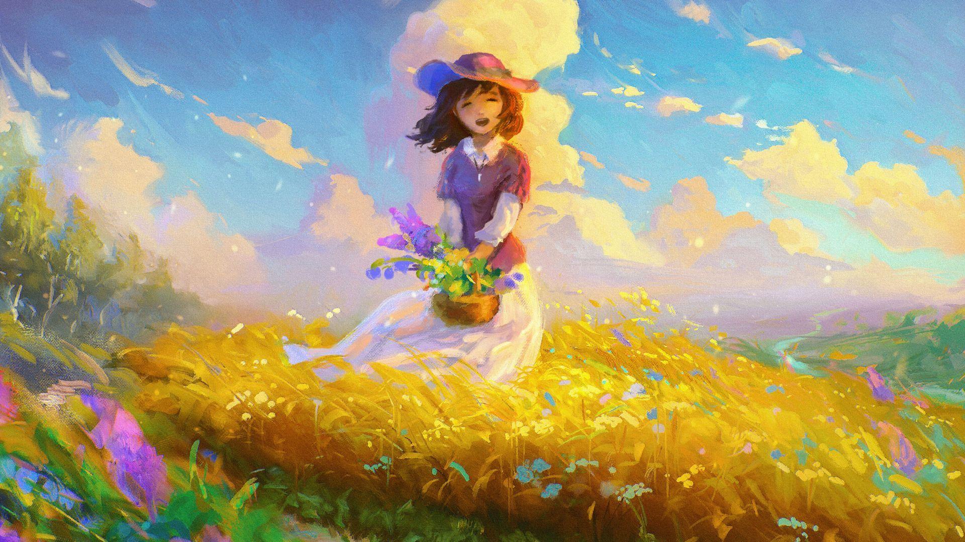 Girl, Happy mood, Spring, Digital art, HD アニメの風景, 插画, 画