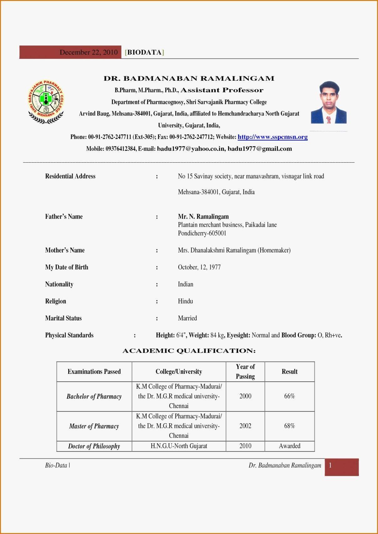 B Pharmacy Resume Format For Freshers Teacher resume