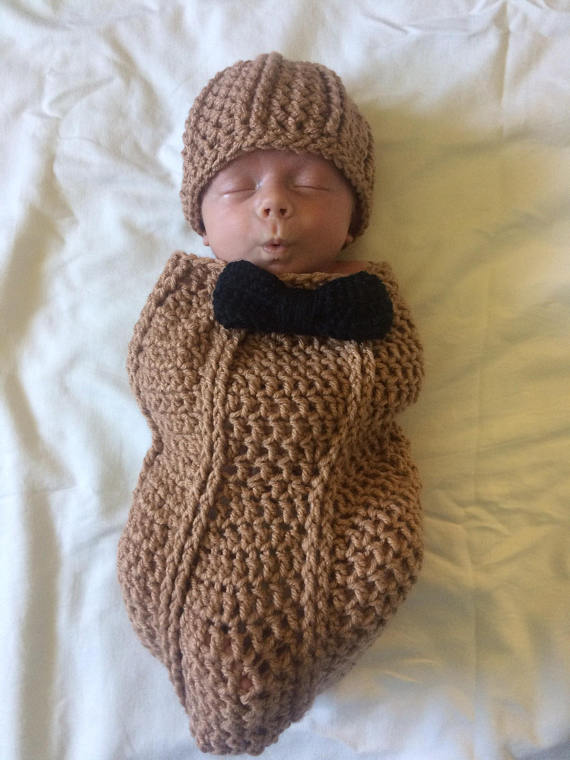 3730df717fae Baby boy peanut cocoon with bow tie and hat