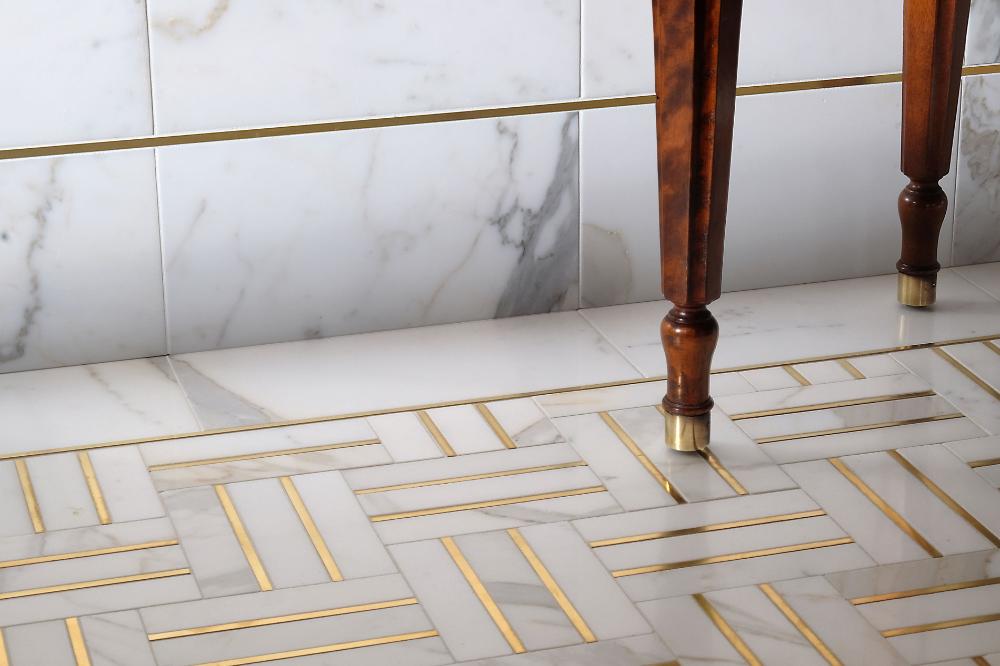 Metal Accent Tiles - Bronzework Studio - Precision | Lowitz & Company #whitemarbleflooring
