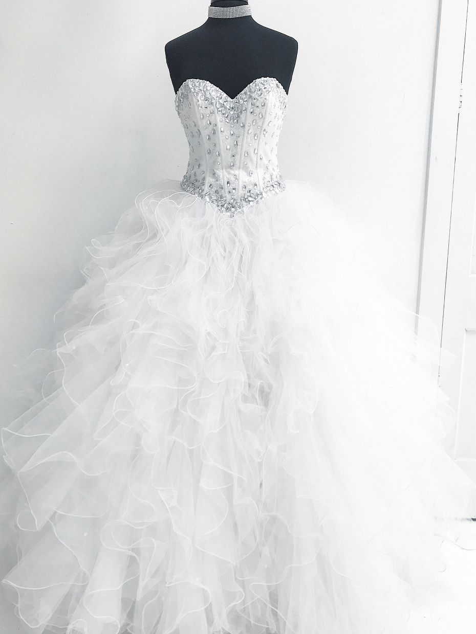 Strapless white long ball gown quinceanera dress in