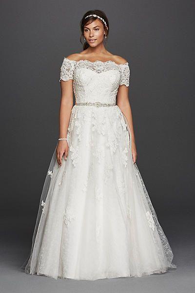 Jewel Scalloped Sleeve Plus Size Wedding Dress 4XL9WG3728 ...