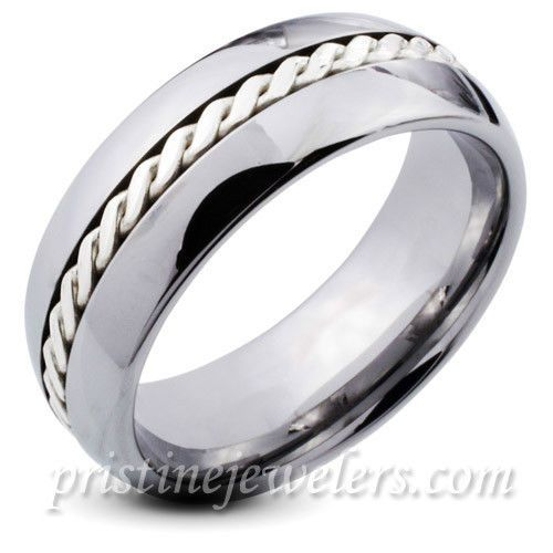 Tungsten Carbide Ring Sterling Silver Braid Inlay Men Jewelry Women Wedding Band Ebay Mens Wedding Rings Cool Wedding Rings Tungsten Mens Rings