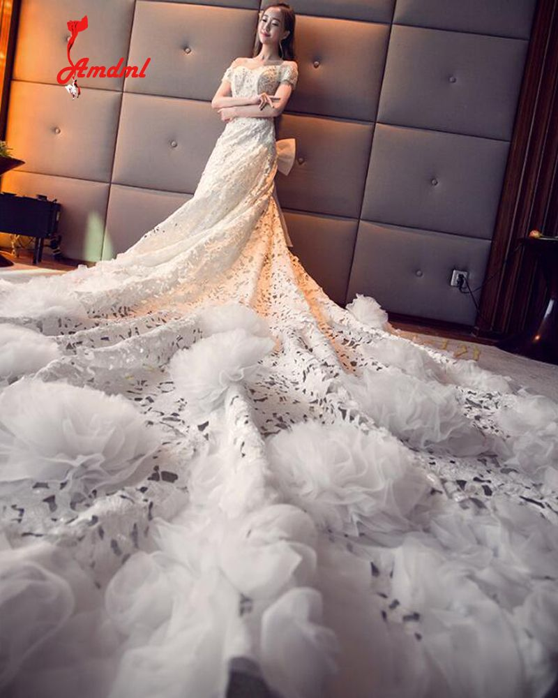 Click to Buy << Amdml Robe De Mariage Luxury Flowers Cathedral Train ...
