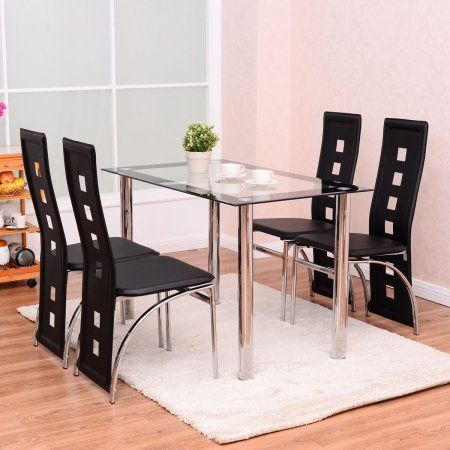 Costway 5 Piece Dining Set Glass Table And 4 Chairs Home Kitchen Breakfast Furniture Form Glass Top Dining Table Leather Dining Side Chairs Side Chairs Dining