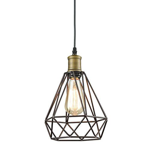 Yobo Lighting Vintage Oil Rubbed Bronze Polygon Wire Pendant Light Art Deco Br Base Type Source Led Bulbs Or Incandescence Shade