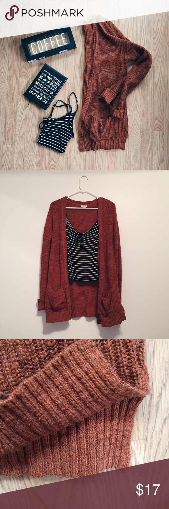 ▫️Mossimo Burnt Orange Cable Knit Cardigan ▫ | Discover best ...