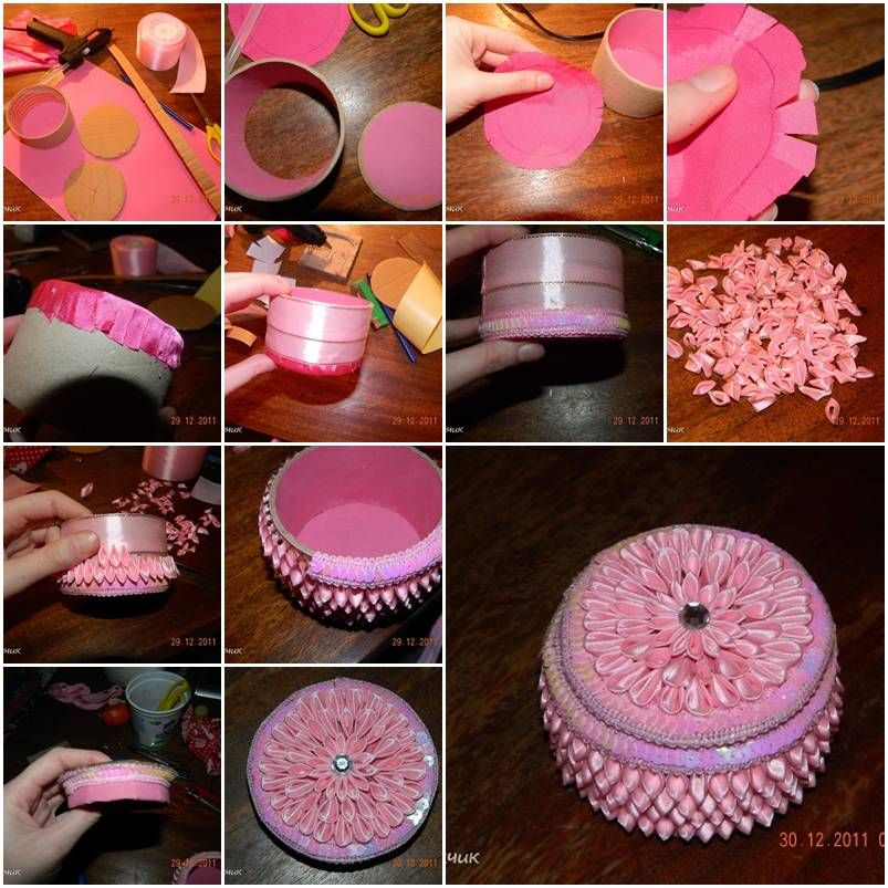 How to make Small Round Jewelry Box step by step DIY tutorial