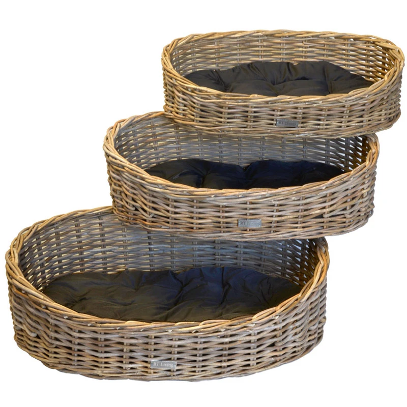 Grey Oval Dog Basket with Cushion (3 Sizes) in 2020 (With