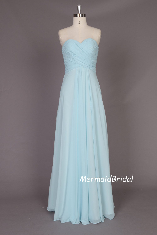 light blue simple style chiffon long bridesmaid dress
