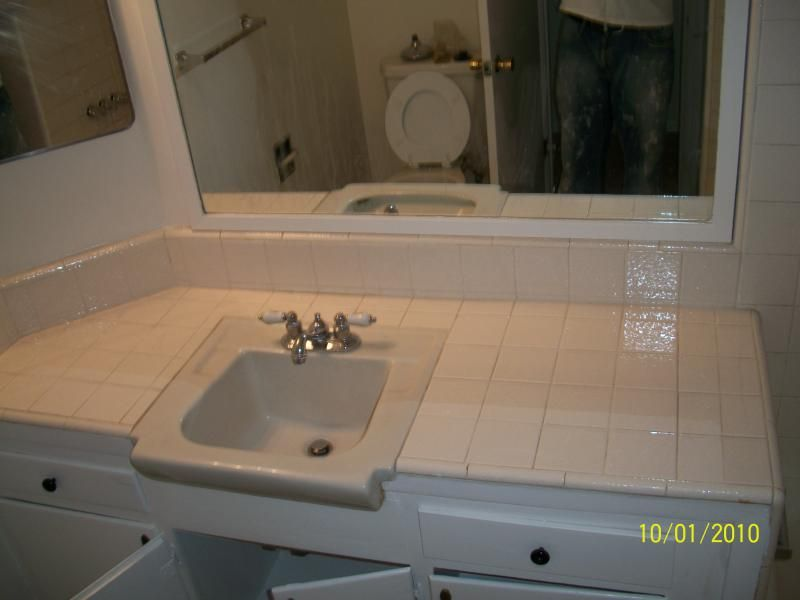 PKB Reglazing Sink Tile Countertop Before Tile Reglazing - Refinish bathroom countertop