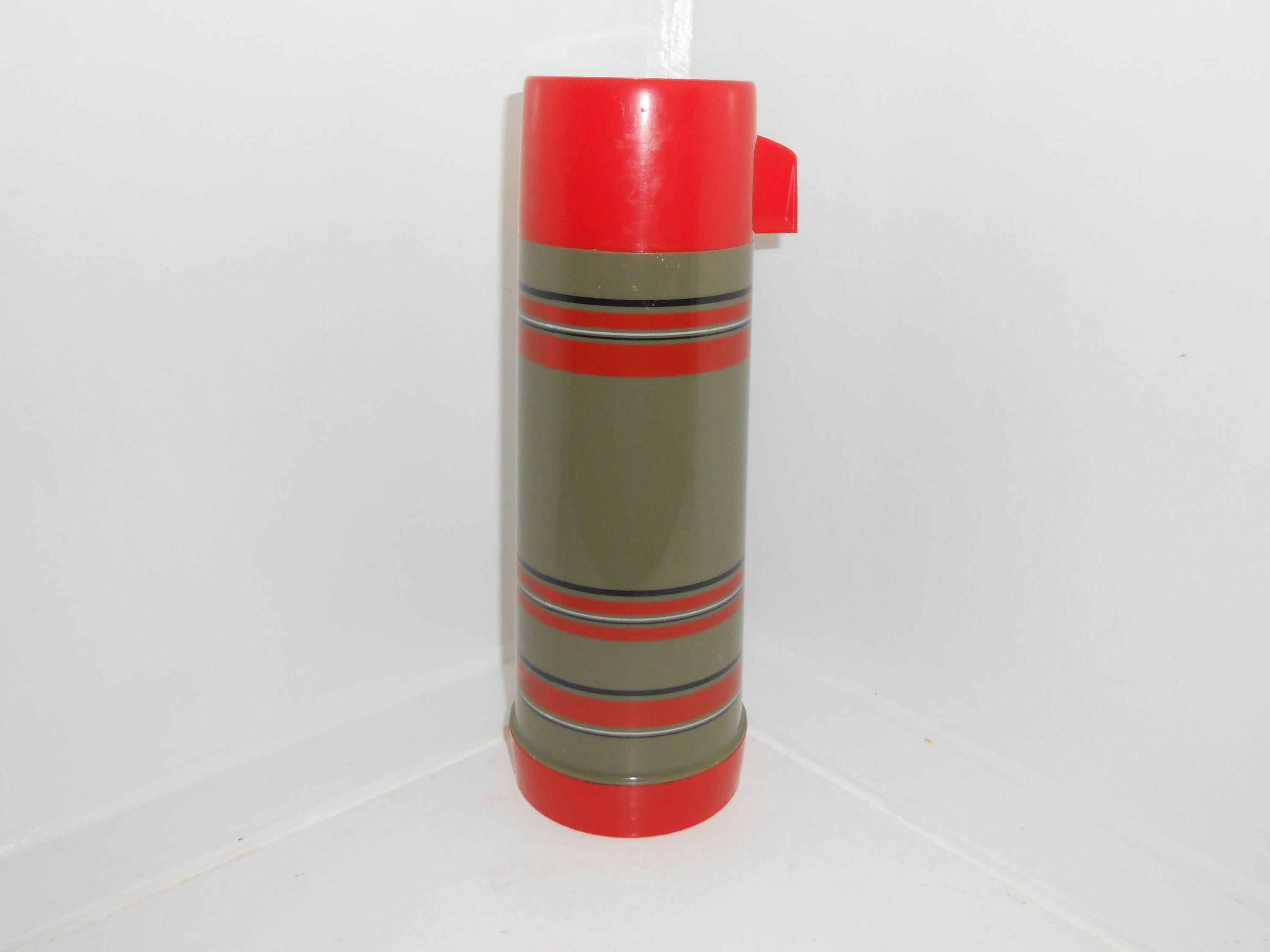 Aladdin Vintage Thermos Army Green With Red And Black Stripes