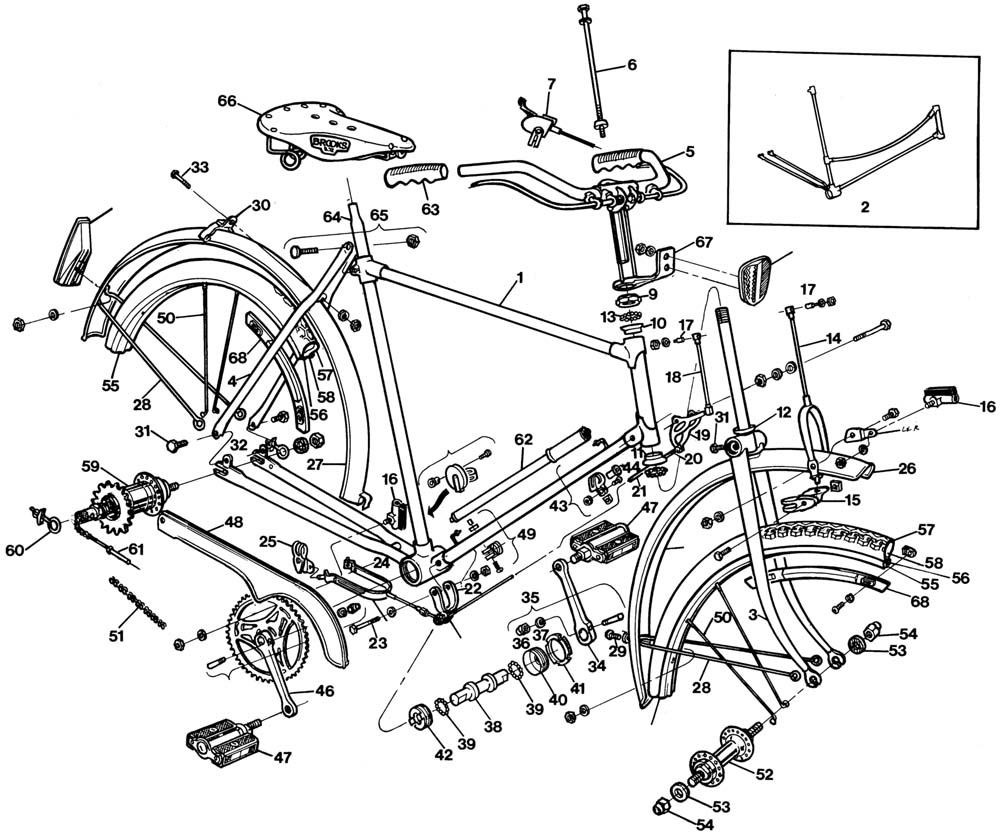 Raleigh Tourist DL1 Exploded Drawing from 1977 Raleigh