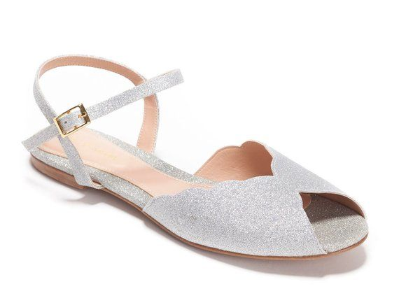 The Ahuva Silver Vegan Bridal Flat Sandal Vintage Inspired Summer
