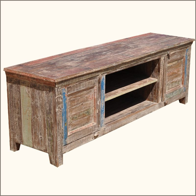 Appalachian Rustic Distressed Low 2 Cabinet Entertainment Cabinet