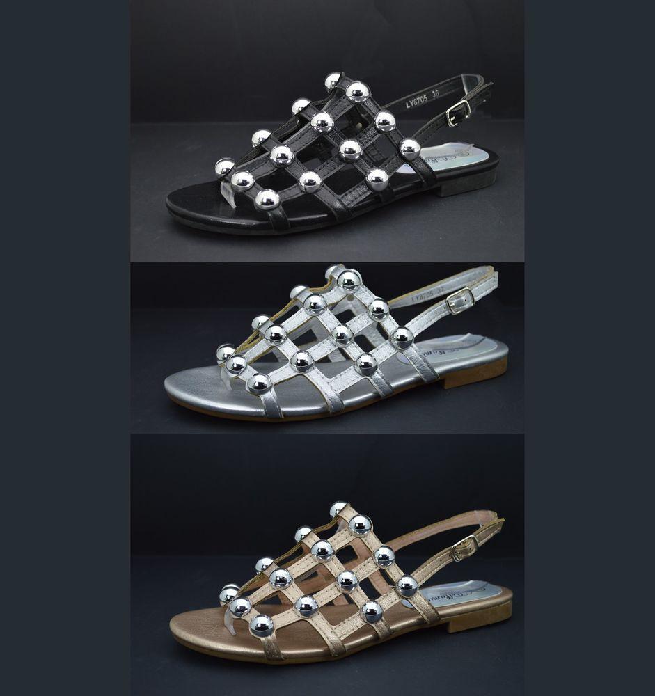 Scarpe estive donna sandali aperti con tacco basso comodo e borchie sandalo 4089d2fcd2e