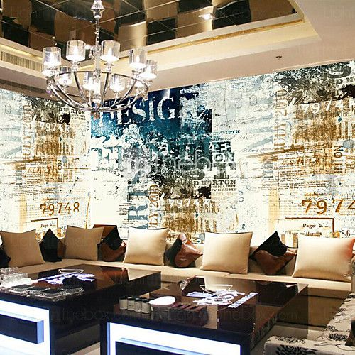 JAMMORY Art Deco Wallpaper Classical Wall Covering,Other Continental Retro Nostalgia Large Mural Wallpaper 3D Letters - USD $48.29