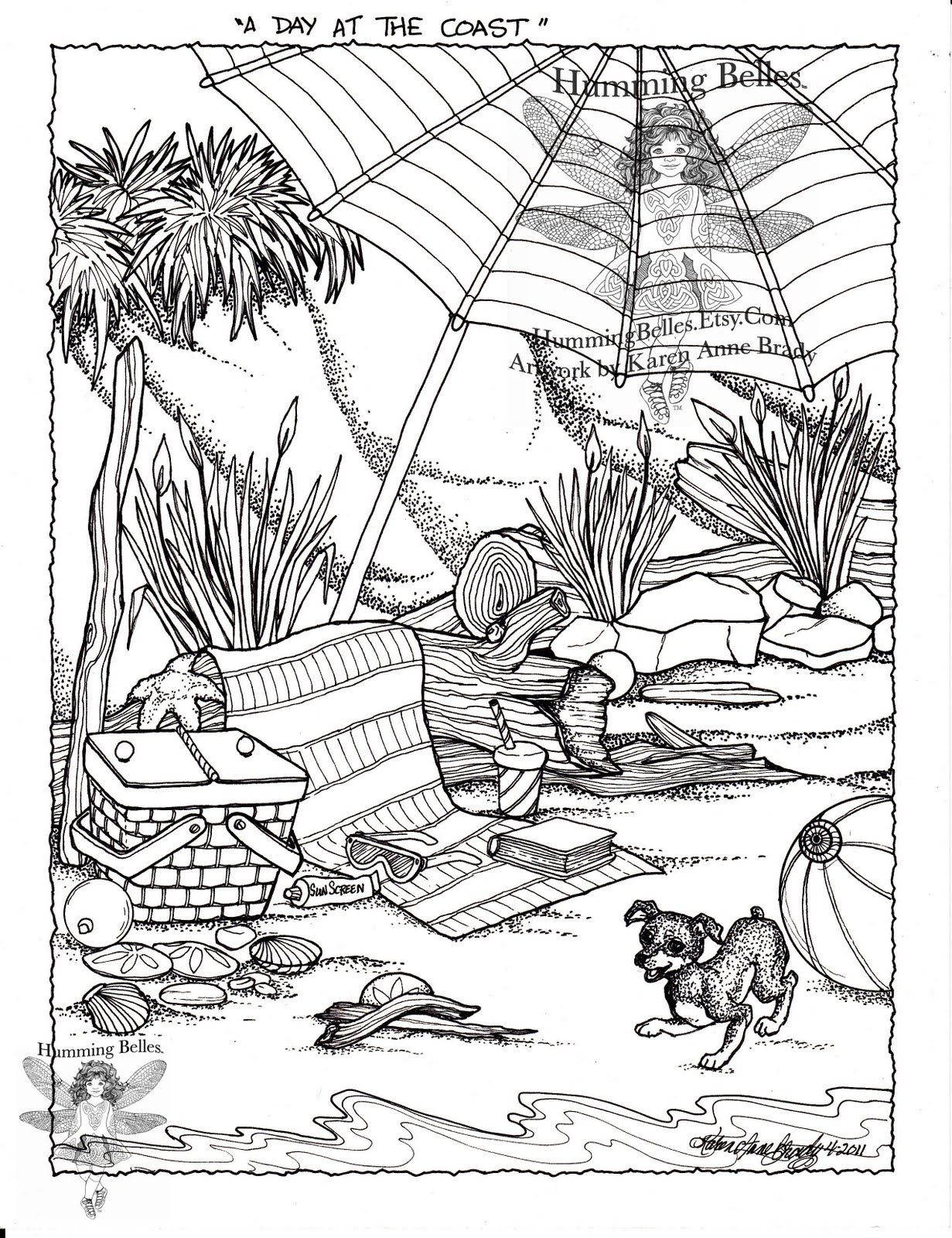 one coloring page with an and props for a regular at