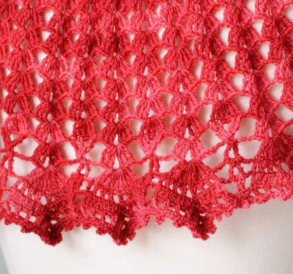Red crochet knitted capelet poncho cowl H805 by Berniolie on Etsy