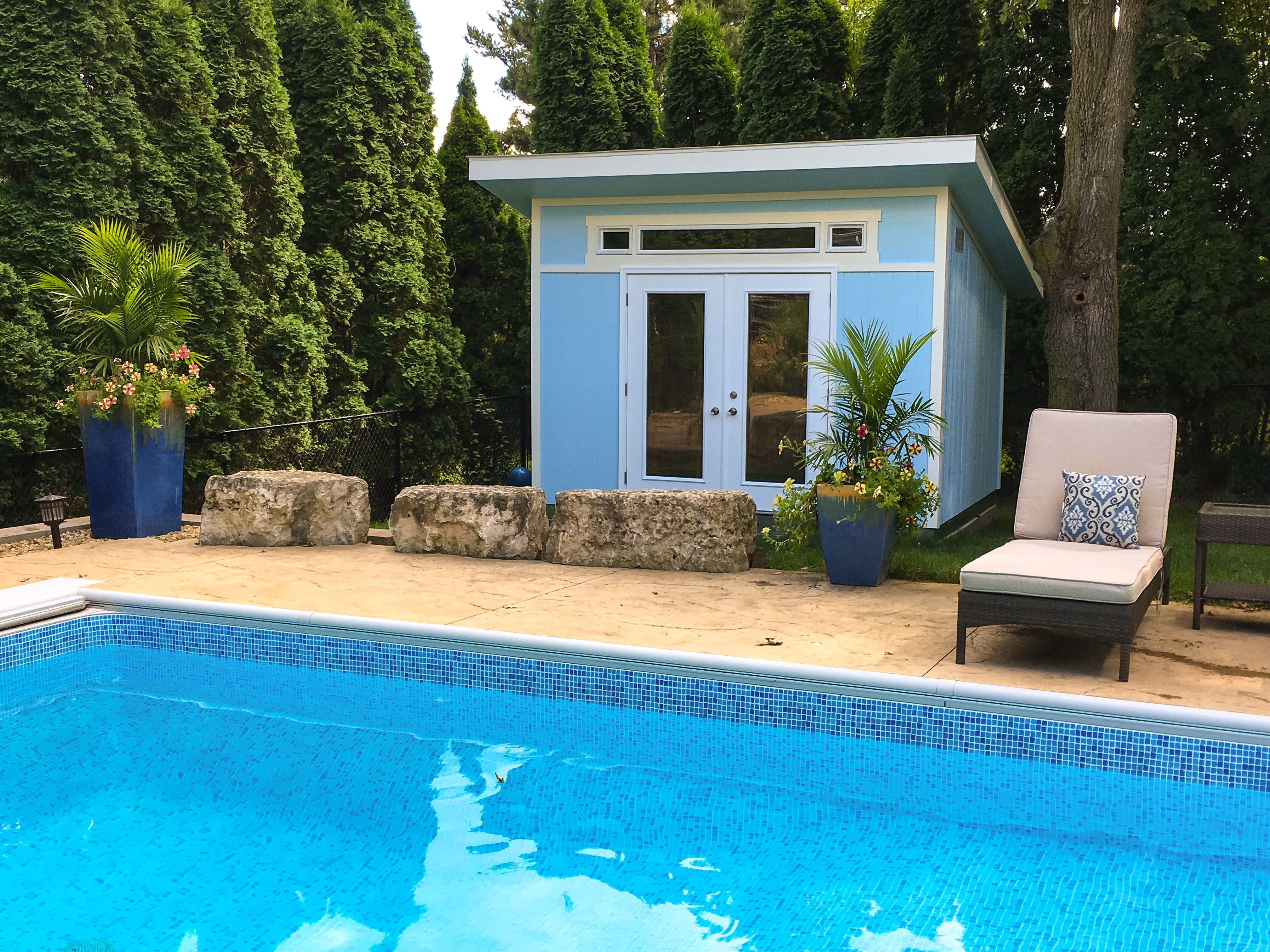 Spending your days poolside? Add a Tuff Shed Studio for your